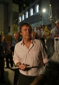 Former Beatle Sir Paul McCartney visits the Church of Nativity in the West Bank town of Bethlehem, Wednesday, Sept. 24, 2008. McCartney is scheduled to perform in Tel Aviv on Thursday for his first concert in Israel.