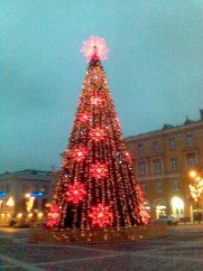 С наступающим!  У нас в Вильнюсе две Главных елки - красная...