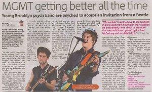 Статья про группу MGMT (газета Metro Boston, Aug 5, 2009)