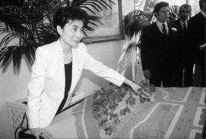Yoko Ono with a Model of Strawberry Fields