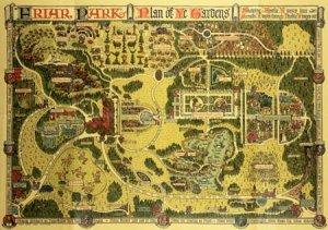 Friar Park plan of gardens. F. Crisp, Guide to Friar Park (1914)