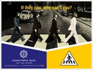 Полиция индийского города Калькутты использовала обложку классического альбома The Beatles «Abbey Road» в пропагандистских воспитательных целях. Плакаты с изображением битлов, переходящих дорогу перед лондонской студией Abbey Road по «зебре», использованы в кампании по соблюдению безопасности на улицах Калькутты.