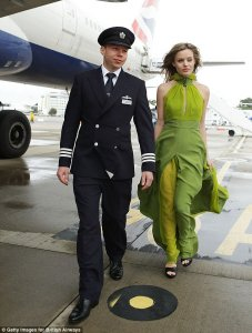 Mile high style! Georgia May Jagger leads the way in green gown at British Airways catwalk show on board jumbo jet