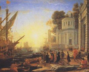 Клод Лоррен Прибытие Клеопатры в Тарс Висит в Лувре