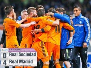 Реал поддержал начинание Барселоны и Атлетико и выиграл свой матч в 32-м туре. Причем куда увереннее, чем конкуренты. Хотя первый тайм сего не предвещал. Сосьедаду удавалось очень высоко и агрессивно прессинговать, так что толковых атак у Реала не было. Его далеко отжимали, а выдумки и креатива без травмированного Криштиану Роналду не хватало. Пару моментов даже имели баски, однако открыть счет не удалось, а вот перед перерывом Реал вышел вперед. Во втором тайме мадридцы захватили контроль над игрой увереннее, стали поджимать, обострять и добились своего. Сперва Бэйл увеличил отрыв после ошибки вратаря басков, а потом до разгрома дело довели Пепе и Мората в самой концовке, когда Сосьедад уже сдался. Гонка за титулом продолжается без перемен в расстановке.