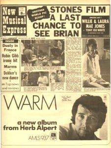 * Тот самый снимок в New Musical Express  от 19 июля 1969 года, качество оставляет желать лучшего !