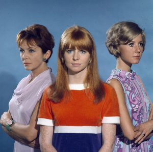 English actresses Diane Clare (1938-2013), Jane Asher and Maxine Audley (1923-1992) pose on the set of the television drama series 'Summer Playhouse - The Man Who Understood Women' in 1967.