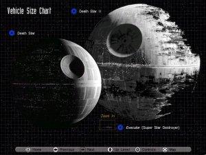 сравнительные размеры первой и второй Звезды смерти, а также Звездного разрушителя