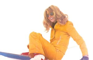 """Сirca 72-74 - Photo of Jane taken by Gerald Scarfe during a ski holiday. This photo was published on the cover of the book """"We Learned To Ski"""" - 1974 1st Edition."""