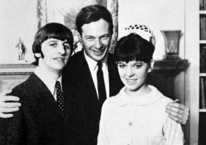 Epstein at his Belgravia home with Ringo and Maureen on their wedding day, February 11 1965