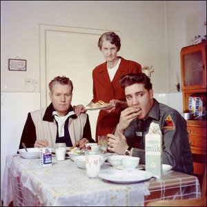 Elvis, his father Vernon, and his grandmother Minnie Mae, Germany, 1959.