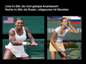 Слева на картинке:не использующая допинг американка справа: русская, напичканная стероидами