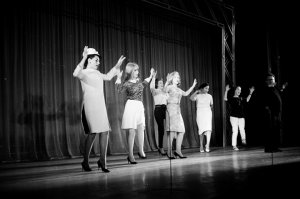 1964, Jane Asher rehearsing on stage.