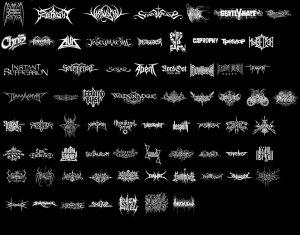 Heavy metal band logo.  При всем многообразии,особо друг от друга, почти не отличаются.