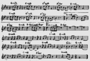 В заметке журнала приведены ноты песни с обозначениями аккордов.