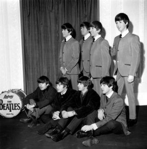 *  Waxworks Of The Beatles At Madame Tussauds: Past And Present ... models of themselves during the unveiling ceremony at Madam Tussaud's in London, England, on April 29, 1964.