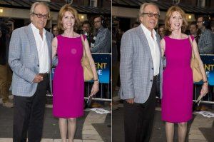 July 8, 2014  Gerald Scarfe and Jane Asher at Gielgud Theatre in London, England.