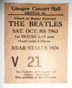 корешок билета концерта Битлз в Глазго 5 октября 1963