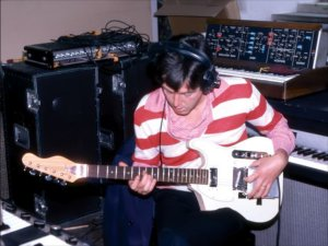 * Paul McCartney's using a Gizmotron guitar synth together with a Hofner Tele copy guitar, Back To The Egg recording sessions in Lympne Castle, Kent, Sept. 1978.