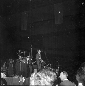 The Beatles perform onstage at the Cow Palace on Aug. 31, 1965.