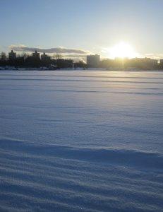 Химкинское водохранилище после снегОв