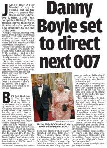 Дэниэл Крэйг и создатели Трейнспоттинга встретились с продюсером Барбарой Брокколи и рассказали ей, каким они видят следующий фильм о Бонде, будучи уверенными, что та всё отвергнет. Но ей неожиданно понравилась концепция. Daily Mail сегодня.