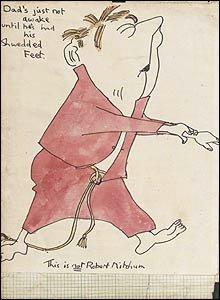 2. Ранее не публиковавшийся комический рисунок Джона Леннона датированный 1957 годом. Редкий двусторонний листок - акварель, чернила.
