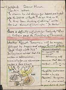 3. Обратная сторона комического рисунка со страницей литературного выпуска Леннона The Daily Howl. Ожидаемая конечная цена - £20000.