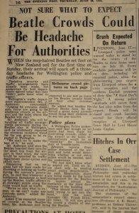 Статья из The Otago Daily Times об австралийских гастролях Битлз, 19 июня 1964 года.