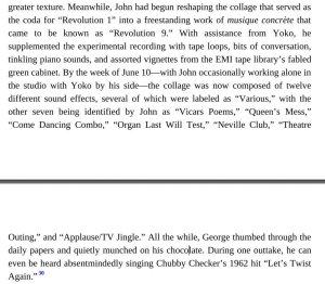 Как и следовало ожидать, шоколад упоминается на уровне Революции 9. То, что Леннон был действительный продюсером записи данной весчи. Что в общем-то понятно.