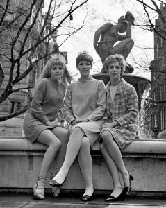 The actresses are Marianne Faithfull, Glenda Jackson (centre) and Avril Elgar (right).