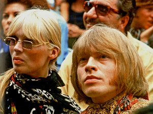 Jimi Hendrix, Brian Jones, Nico, Mama Cass and Michelle Phillips at the Monterey Pop Festival on June 18, 1967.