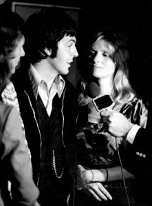 * Paul McCartney, left, and his wife Linda gets interview as they made a surprise visit to the Grand Ole Opry's night performance June 28, 1974. McCartney, who is staying in the Nashville area while rehearsing for an upcoming tour with Wings, was the guest of honor at a cocktail party at Opryland's VIP lounge, just before the show.