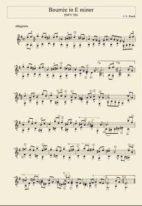 бурре взято из сюиты ми минор для лаутенверка (разновидность клавесина). ошибочно считается для лютни... по крайней мере это играбельно для нее и гитары, по сравнению с чисто клавирными вещами. и потому в обиходе более известно как из сюиты для лютни....бурре предельно простое по структуре. остальные части призваны ломать пальцы. ибо гитара и лютня по характеру звукоизвлечения не полифонический инструмент.