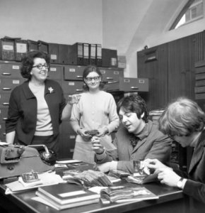 * Paul McCartney and Peter Asher visit the Press Association photo archive... 1968.