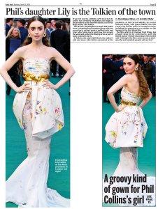 Daily Mail сегодня. Лили Коллинз на премьере ещё одного фильма со своим участием.