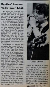 """Billboard, 2 May 1964. """"In His Own Write"""" review"""