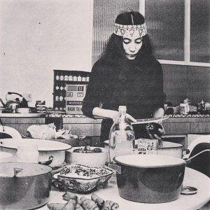 Yoko Ono cooking in her kitchen at home, Tittenhurst Park, Ascot, 1969
