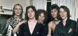 """""""Brian Eno and his backing band, The Winkies, in 1974"""