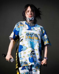 Billie Eilish wears custom pieces from the 'All Together Now' collection.