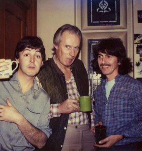 "Paul McCartney, George Martin, and George Harrison: adorable Polaroid via Macca's IG. It's from 1981, at George H's house, Friar Park, with Denny Laine and Linda McCartney also there to add background vocals to the track ""All Those Years Ago."""
