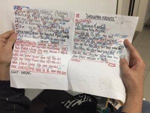 А вот так выглядел текст Группы крови для басиста Металлики Роберта Трухильо.