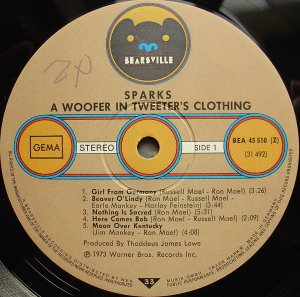 Sparks ‎– A Woofer In Tweeter's Clothing