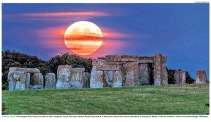 Moon over Stonehenge by Nick Bull