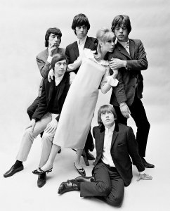 Patti Boyd in a Mary Quant dress with the Rolling Stones, photo by John French.