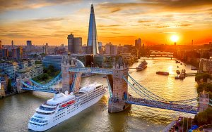 The Silver Wind cruise ship passes under Tower Bridge, London by Chris Gorman