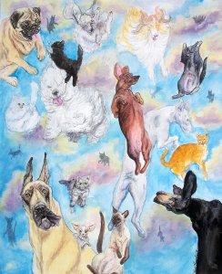 It's raining cats and dogs - Одно их возможных происхождений идиомы.