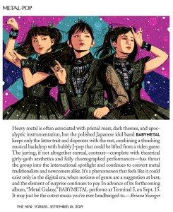 Силы небесные, Babymetal добрались до интеллигентского The New Yorker (16 September). Дальше только The Wall Street Journal.