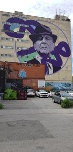 Монреаль, центр города, граффити на стене многоэтажного здания, неподалеку от дома, в котором жил Леонард Коэн.