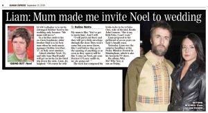 Мама заставила меня пригласить Ноэля на свадьбу.  Daily Express сегодня.